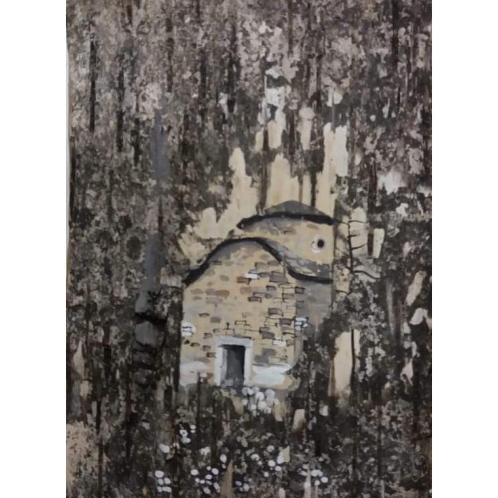 ΧΕΙΡΟΠΟΙΗΤΗ ΖΩΓΡΑΦΙΚΗ ΣΕ ΦΛΟΥΔΑ ΞΥΛΟΥ, 15 Χ 10 cm